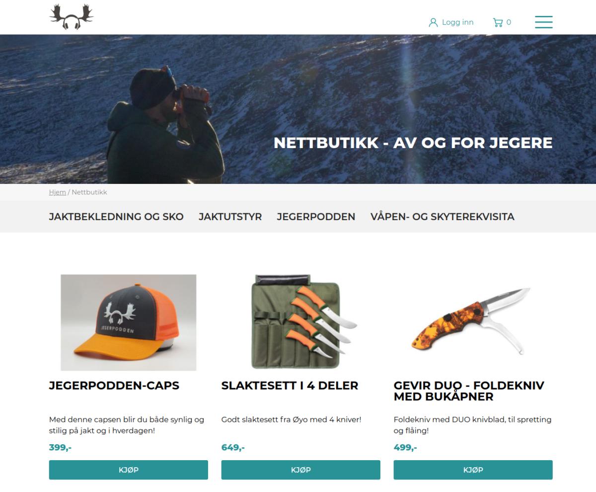Nettbutikk for Jegerpodden