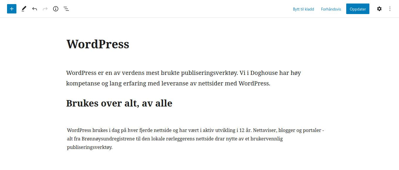 Skjermbilde av WordPress